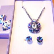 Nemesacél fülbevaló és medál-Mágikus lila-Swarovski ® kristályokkal