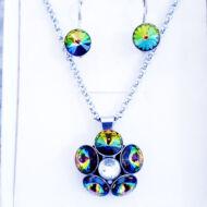 Nemesacél fülbevaló és medál-Mágikus zöld-Swarovski ® kristályokkal