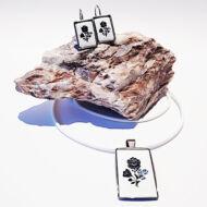 Retró kalocsai medál plusz fülbevaló Swarovski® kristályokkal