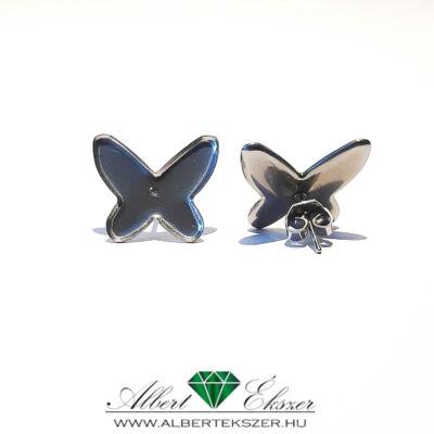 Nemesacél beszúrós fülbevaló alap pillangó forma