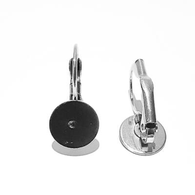 Nemesacél francia kapcsos fülbevaló alap ragasztható felülettel többféle méretben