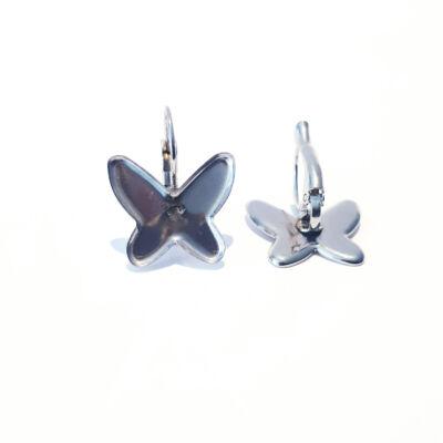Nemesacél pillangós francia kapcsos fülbevaló alap