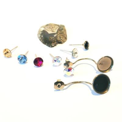Nemesacél fülbevaló alap Swarovski kristályokkal