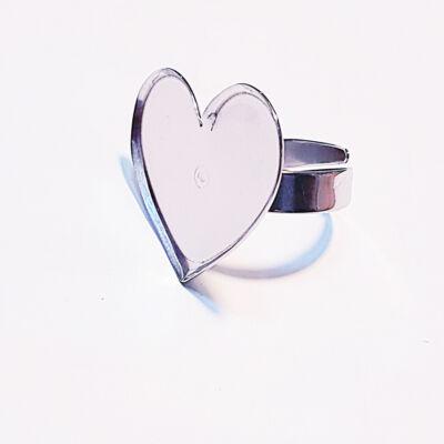 Nemesacél gyűrű alap szív formával