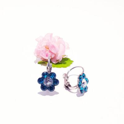 Virágos gyerekfülbevaló Swarovski kristályokkal