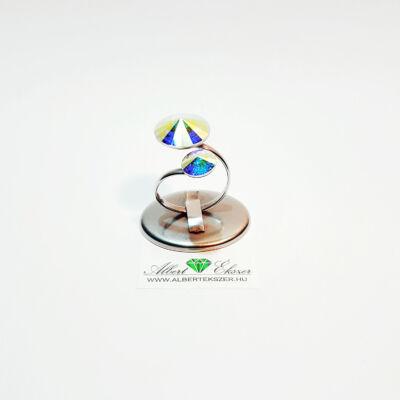 Swarovski kristályos dupla rivoli gyűrű-többféle színben