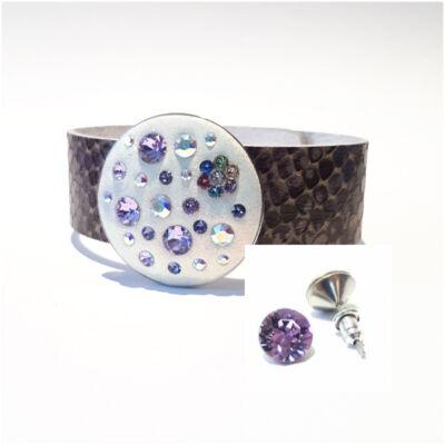 Ékszergyurmás bőr karkötő nemesacél foglalattal  Swarovski ®  kristályokkal